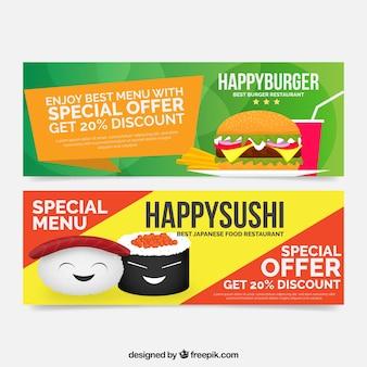 Abstrakt sushi i hamburger banery