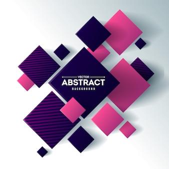 Abstrakt z 3d sześcianami i kwadratami