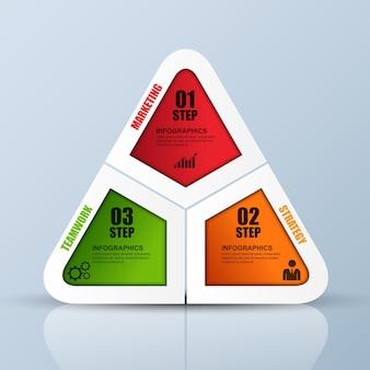 Abstrakta 3d biznesowy geometryczny infographic. może być stosowany do układu przepływu pracy.