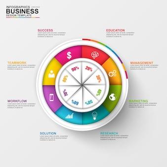 Abstrakta 3d cyfrowy biznesowy diagram infographic