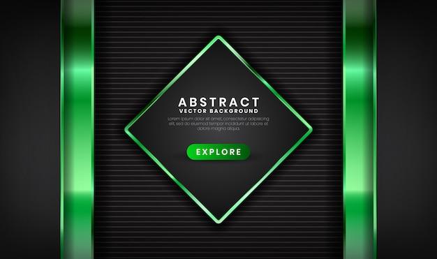 Abstrakta 3d czarny i zielony luksusowy tło z lekkim skutkiem