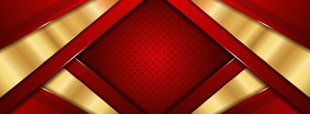 Abstrakta 3d luksusowa czerwień z złotym tłem