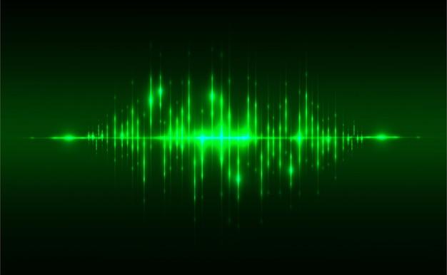 Abstrakta dźwiękowego tła pojęcia liniowy i poligonalny wzór kształtuje na ciemnozielonym
