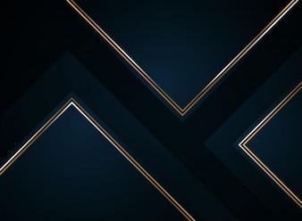 Abstrakta papieru rżnięty gradientowy zmrok - błękit z złotym.