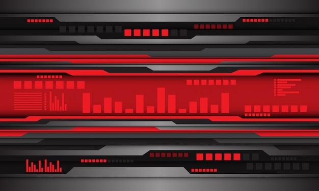 Abstrakta popielatego kruszcowego czarnego obwodu cyfrowa czerwona fala projektuje nowożytnego futurystycznego technologii tło.