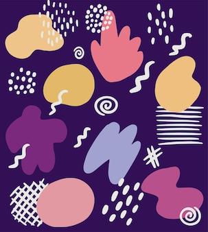 Abstrakty ręcznie rysowane elementy wektorowe dla powierzchni, ilustracji, dekoracji.