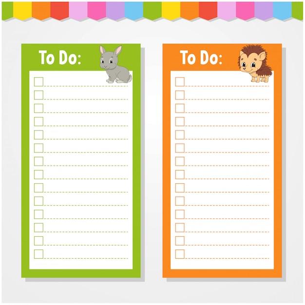 Aby zrobić listę dla dzieci, pusty szablon