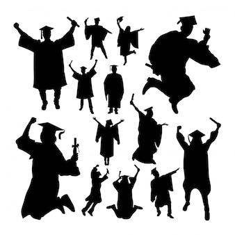 Academic graduation silhouettes