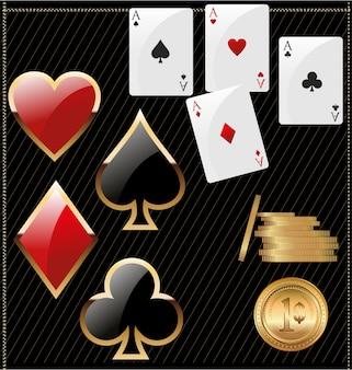 Ace poker ze złotymi żetony
