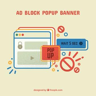 Ad block popup koncepcja tło w stylu płaski