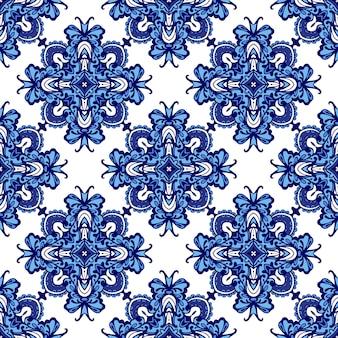 Adamaszek bezszwowe patchworkowy wzór z niebiesko-białych płytek orientalnych, ozdoby.