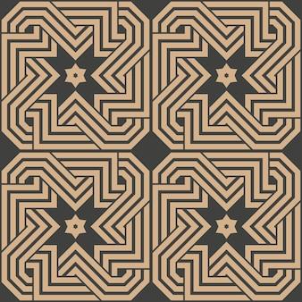 Adamaszek bezszwowe retro wzór tła geometria wielokąt krzyż spirala wir rama łańcuch linia gwiazda.