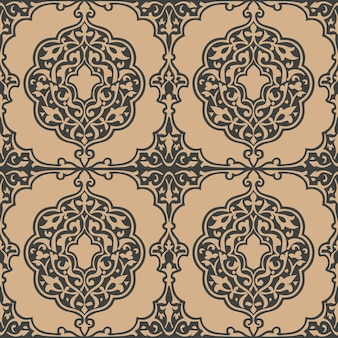 Adamaszek bezszwowe retro wzór tła krzywa spiralna krzyż ogród botaniczny herb roślin.