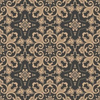 Adamaszek bezszwowe retro wzór tła orientalna krzywa spiralna krzyż rama liść winorośli kwiat.