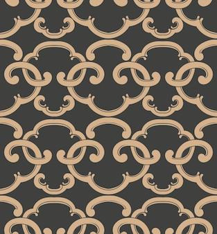 Adamaszek bezszwowe retro wzór tła orientalna spirala krzywa krzyż rama łańcuch herb.