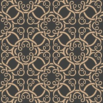 Adamaszek bezszwowe retro wzór tła orientalna spirala krzywa okrągły krzyż wir rama łańcuch winorośli.