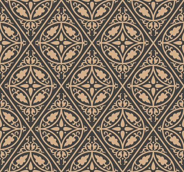 Adamaszek bezszwowe retro wzór tła sprawdzić okrągłą spiralę krzywej krzyż łańcuch ramki liści.