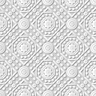 Adamaszkowa bez szwu sztuka papieru 3d octagon round cross flower