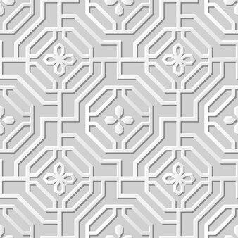 Adamaszkowa bez szwu sztuka papieru 3d spiral octagon cross flower