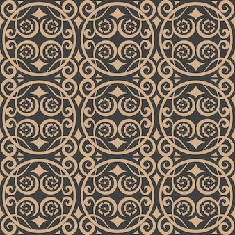 Adamaszku bezszwowe retro wzór tła spirala krzywa kwiat winorośli ramki krzyż.