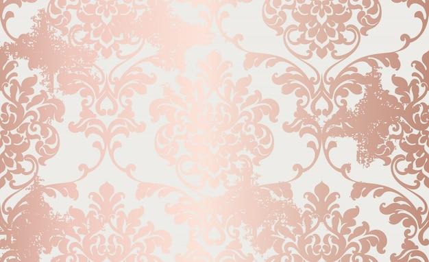 Adamaszku różowy ornament złoty wzór