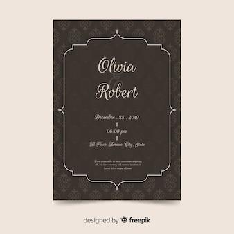 Adamaszku szablon zaproszenia ślubne w eleganckim stylu