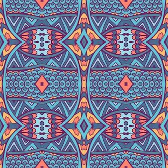 Adamaszku wzór z kolorowych kwiatów doodle streszczenie kafelki ozdoby