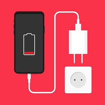 Adapter ładowarki do smartfona i gniazdo elektryczne, powiadomienie o niskim poziomie baterii