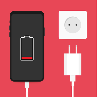 Adapter ładowarki do smartfona i gniazdo elektryczne, powiadomienie o niskim poziomie naładowania baterii. stockowa ilustracja wektorowa.