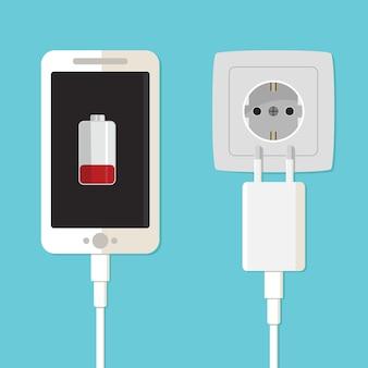 Adapter ładowarki do smartfona i gniazdo elektryczne