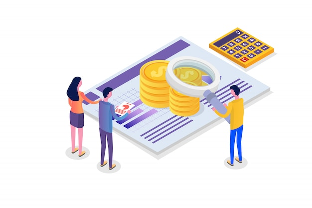 Administracja finansowa, egzaminator, izometryczna koncepcja audytu z postaciami. podatek i konto firmowe.