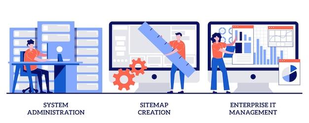 Administracja systemem, tworzenie mapy witryny, koncepcja zarządzania it w przedsiębiorstwie z małymi ludźmi. zestaw ilustracji streszczenie organizacji biznesowych. konserwacja serwera, metafora tworzenia stron internetowych.