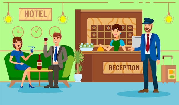 Administrator hotel recepcja płaska ilustracja