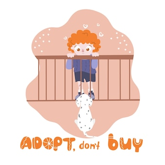 Adoptuj, nie kupuj. pies w klatce patrząc na chłopca. międzynarodowy dzień bezdomnych zwierząt.