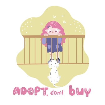 Adoptuj, nie kupuj. pies w klatce patrząc na dziewczynę. międzynarodowy dzień bezdomnych zwierząt.