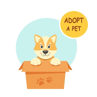 Adoptuj zwierzaka. śliczny szczeniak w pudełku. w stylu płaskiej.