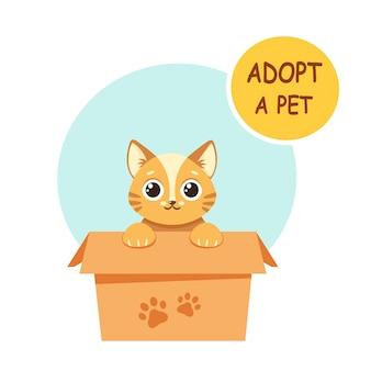 Adoptuj zwierzaka. słodki kotek w pudełku. ilustracja w stylu płaski.