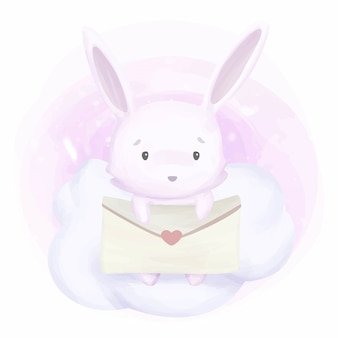 Adorable bunny rabbit and love letter