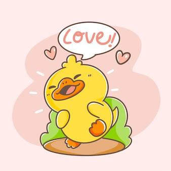 Adorable happy duck postcard doodle illustration