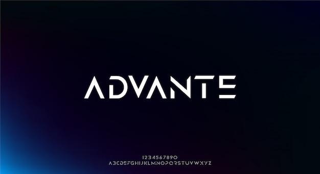Advante, abstrakcyjna futurystyczna czcionka alfabetu z motywem technologicznym. nowoczesny minimalistyczny projekt typografii