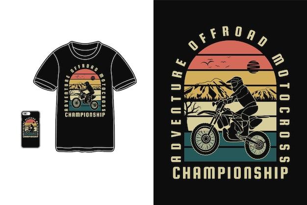 Adventure off road motocross, t shirt design sylwetka w stylu retro