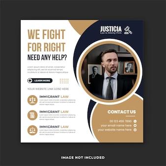 Adwokat usługi prawne szablon mediów społecznościowych projekt i prawnik szablon banera kancelarii prawnej