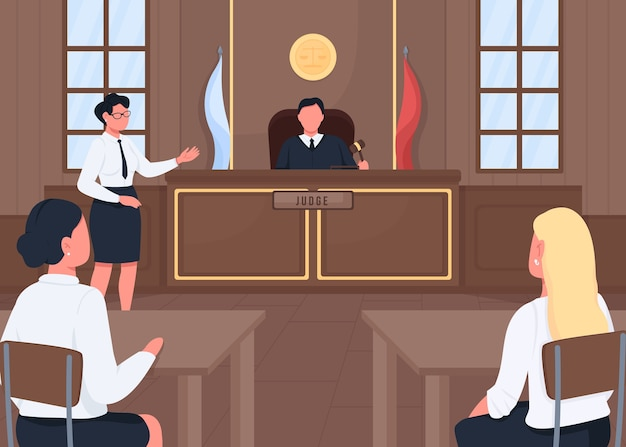 Adwokat w sąd prawny płaski kolor ilustracji. procedura orzeczenia. rozprawa sądowa. sędzia, świadek i prokurator postaci z kreskówek 2d z wnętrzem sądu w tle