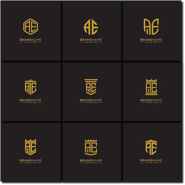 Ae początkowe litery logo zestaw wstępne szablony