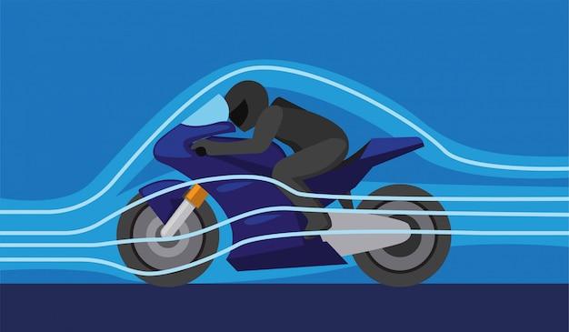 Aerodynamiczna technologia wiatru w sporcie motorowym, motocykl z kontrolą siły wiatru, aby poprawić ilustrację koncepcji przyspieszenia