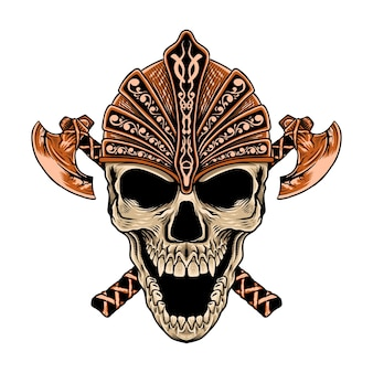 Aesome ręcznie rysowana czaszka z toporem