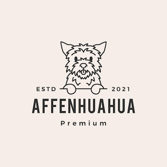 Affenhuahua pies hipster vintage logo