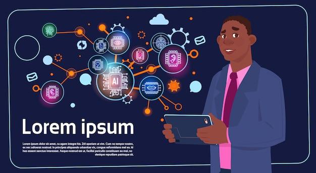 African american biznesmen gospodarstwa prezentacji stoją nad cyfrowy ekran z wykresów i wykresu