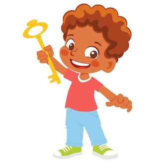 African american boy posiada klucz. koncepcja pomysłu lub rozwiązania