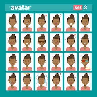 African american female różne emocje ustaw profil avatar, kobieta kreskówka kolekcja twarzy portret